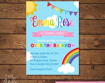 Rainbow Party Invitation | Over the Rainbow Birthday Party | Rainbow Invitation | Print Yourself
