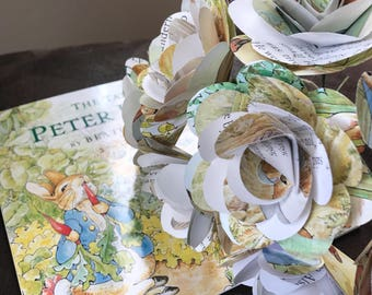 Peter Rabbit Book Paper Roses, 8 Count, Book Page Flowers, Childrens Book Paper Roses