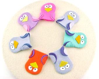 Handmade Felt Bird Puppet, Felt Toy, Teacher Gift, Easter GIft, Pretend Play, Gift for Little Girl, Little Boy Toy, Preschool Toy, Pink Felt