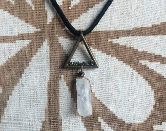 Dangling Quartz pyramid necklace with pyrite dust