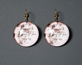 Earrings cabochon writing