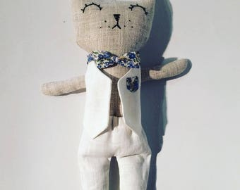 Rag doll in linen form cat home decor, kids games. French manufacturing