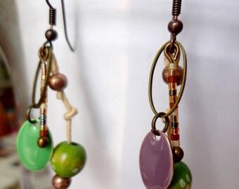 Original earrings, boho gypsies, multicolored