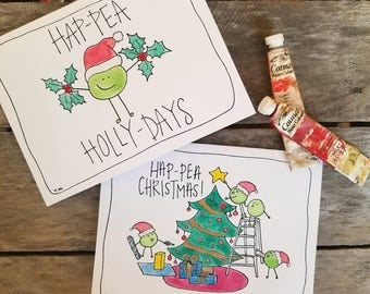 "Card Packs - ""Hap-Pea Holly-Days!"" and ""Hap-Pea Christmas!"""