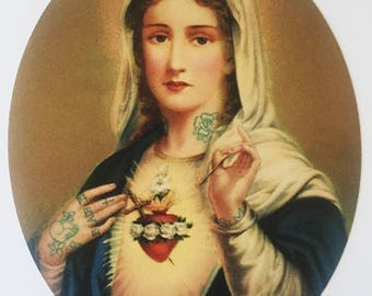 Sacred Heart Print, Tattoo Mary, 8x10 print
