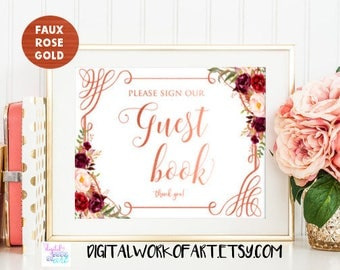 Guest Book Sign, Guestbook Sign, Typography Guestbook Sign, Calligraphy Guest Book Sign, Printable Sign, Wedding Sign, Floral boho sign, #LC