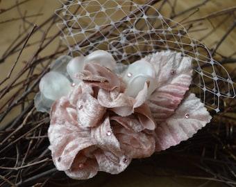Wedding Hair Clip, Ivory Bridal Hair Clip, Flower Girl Hair Accessory, Mauve Flower Hair Clip, Wedding Hair Accessories, Bridesmaid
