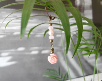 Pink and Pearl Rose Dangle Earrings