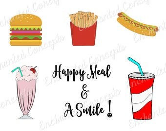 Happy Meal SVG, Hamburger cutting file, french fries cutting files, hot dog plotter files, milk shake, fast food svg, Soda, Pop,