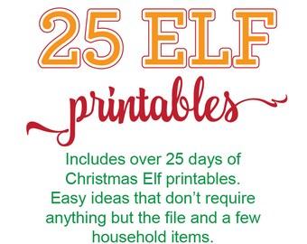 Elf Printable Bundle, Elf Printable Kit, 25 days of Elf Ideas, Over 25 Elf Ideas, Elf 1 month ideas, Elf Printables, Elf Kit, Christmas Elf