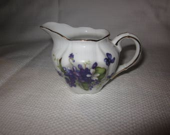 Beautiful vintage china creamer  - white with violets