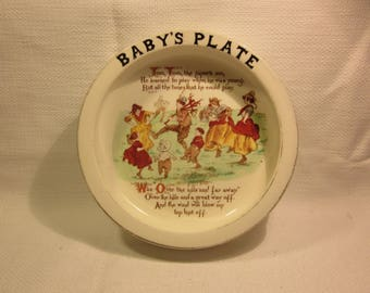 Antique rimmed baby dish, baby's plate, Arcadian China, Stoke-on-Trent, England