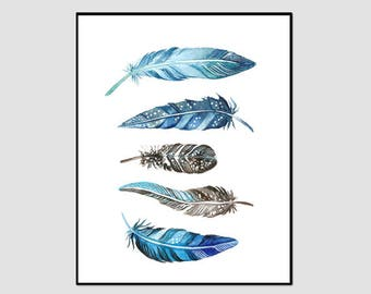 Feather Print, Blue Feathers, Blue and Grey, Feather Wall Art, Instant Download, Printable Feathers, Feather Painting, Feathers Watercolor