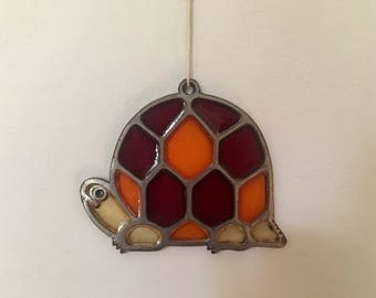 1970s Turtle Stained Glass/Suncatcher