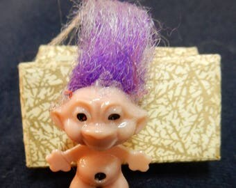 Vintage Troll Doll - Miniature Size - Purple Hair with White Streaks - Good Condition