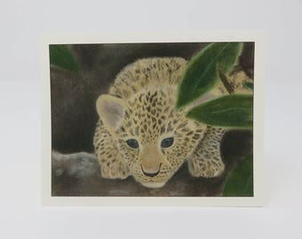 10 Leopard Cub Cards//hand made//blank cards//africa cards