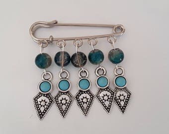 Safety pin brooch glass beads and arrowhead