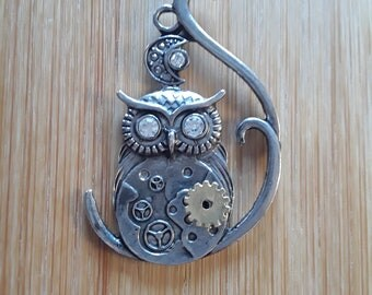 Steampunk Owl with Moon