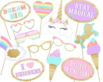 Unicorn party Photo booth Props Printable - Instant Download ! print digital file Set magical Unicorn photobooth, Unicorn props birthday