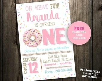 Donut Birthday Invitation, Doughnut Birthday Invitation, Donut Invitation, Pink Donut Invitation, Donut Party, Donut Invite, first 1st girl