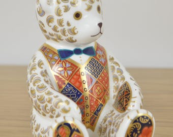 Royal Crown Derby paperweight Teddy bear (Blue Bow Tie) 1997 LX 1st Quality