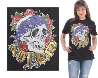 NO FEAR Shirt 90s Vintage Rock Music Tee Tee Skull Print TShirt Hip Hop Rap Black Golden Blue Band Music Summer Urban Hipster Medium