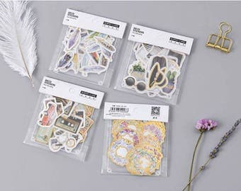 25 Pieces of Foil Sticker Sets - Vintage Life, Wreath, Girl's Appearance, Feather, Journal, Planner, Scrapbooking, Craft