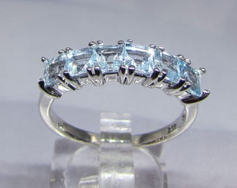 Ring women 6 Blue Topaz stones on silver size 56