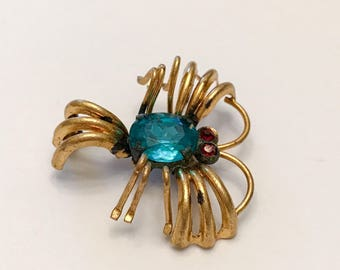 Vintage Czech Insect Brooch, Blue, Gold, Red Stones, Marked Czecho