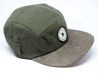 Grey cotton fivepanel hat
