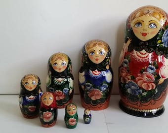 Russian doll, doll nesting matryoshka fleurs7 pieces