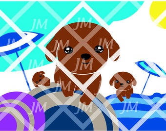 illustration digital babies dogs room, art decor