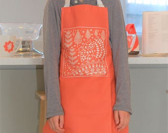 Edward Squirrel Child's Apron in orange, Scandi style Christmas gift for Cookery fun
