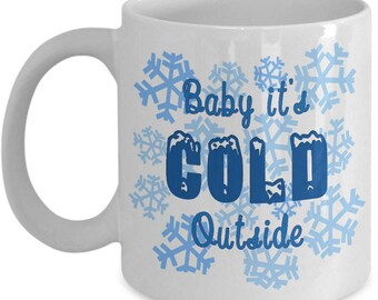 Snowflakes Coffee Mug - White 11oz Ceramic Winter Coffee Mug - Cute Winter Snow Tea Mug - Christmas Holiday Themed Mug - Snow Mug