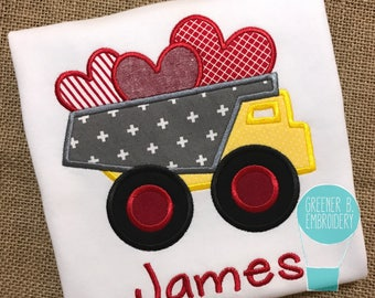 Boy's Valentine's Day Shirt / V Day Shirt / Valentine Dump Truck Shirt / Dump Truck with Hearts / Boys Valentine Outfit / Construction Shirt