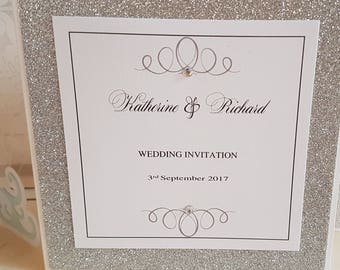 "Handmade white and silver glitter pocketfold wedding invitation ""sample"""