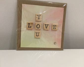 Love you scrabble tile birthday velentines Mother's Day card