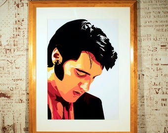 Elvis Presley High Quality Glossy Print in Bespoke Mount & Frame
