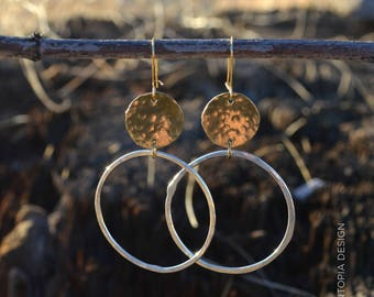 Circle Earrings , hammered brass and sterling silver, boho jewelry, silvery earrings, minimalist jewelry, mixed metal
