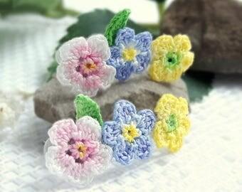 Colorful stud earrings. Colorful flower earrings. Pastel earrings. Floral jewelry for girls. Mini crochet earrings. Hand crocheted items.