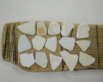 "15 Beach Pottery 1.6-2.3""/4-6cm Bulk White/Cream Sea Pottery - Old Beach Pottery Shards #21"