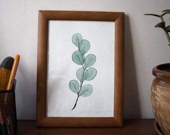 Botanical leaves watercolor art