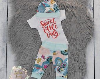 Newborn Baby Girl Coming Home Outfit, Newborn Take Home Outfit, Sweet Little Lady, Newborn Girl Coming Home Outfit, Baby Leggings
