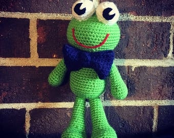 Crochet amigurumi frog toy