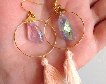 dangle hoop earrings pink blue iridescent crystals