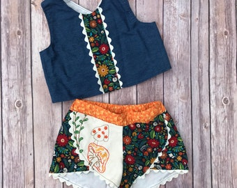 Girls Size 5T vintage Coachella shorts and crop top