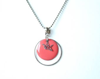 salmon pink enameled sequin silver neck Choker and origami bird
