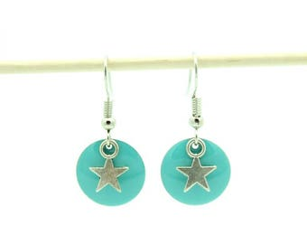 earring with turquoise sequin and Silver Star