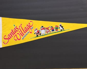 Santa's Village Jefferson NH Vintage Pennant  8 inches x 25 inches