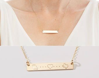 State to State Love Engraved Necklace-Long Distance Relationship-Wedding-Valentine's Day Gift-BFF-Going Away Gift-14kGF,Rose,Silver-CG315N